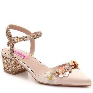NWOB Betsey Johnson | floral glitter chunky heels